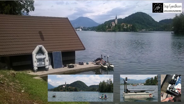 Nadzorne meritve in testiranje opreme na Blejskem jezeru v juniju 2015