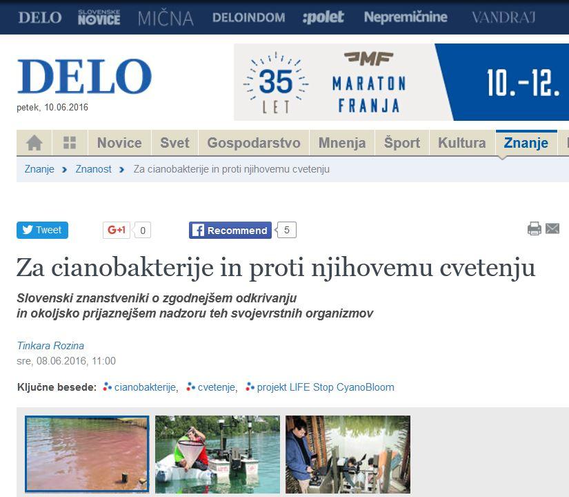 Objava v rubriki Znanost časopisa DELO