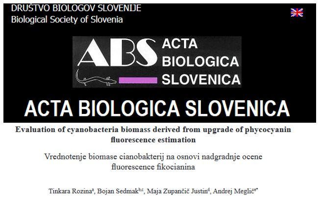 Publication of the results in Acta Biologica Slovenia